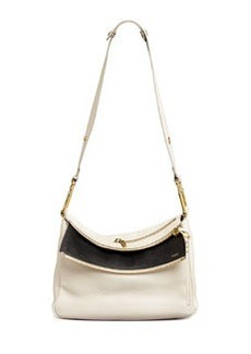 Vanessa Double-Flap Shoulder Bag, White/Black   Vanessa Double-Flap Shoulder Bag, White/Black
