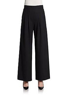 Lafayette 148 New York Stretch Wool Pleated Wide-Leg Pants