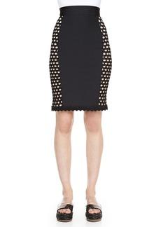 Jean Paul Gaultier Side-Crochet Fitted Skirt, Black