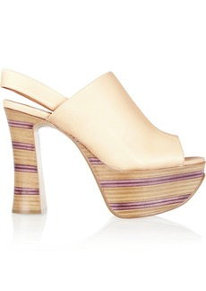 Chloé Striped leather and wooden platform sandals