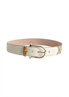 Gucci beige leather GG canvas bamboo buckle belt