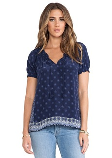 Joie Masha E Ornate Border Blouse in Navy