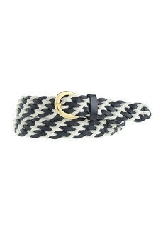 Leather and rope woven belt