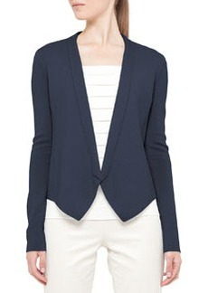 Akris punto Knit No-Collar Jacket, Denim