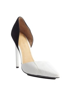 L.A.M.B. white and black 'Faith' snake embossed leather pumps