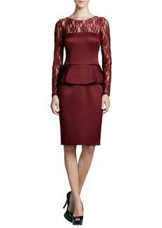 David Meister Illusion-Neck Peplum Cocktail Dress, Garnet