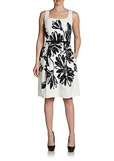 David Meister Squareneck Flower Print Dress