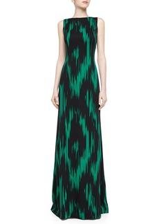 Michael Kors Crepe Byzantine Ikat Print Gown, Emerald/Black