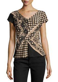 Nanette Lepore V-Neck Mixed-Print Silk Top, Camel