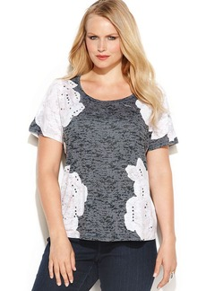 INC International Concepts Plus Size Printed Burnout Short-Sleeve Tee