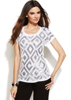 INC International Concepts Short-Sleeve Sequin Top