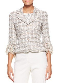 Escada 3-Button Fringe-Sleeve Blazer, Moonstone