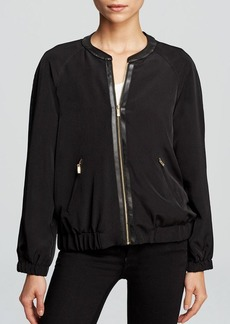 Calvin Klein Faux Leather Trim Bomber Jacket