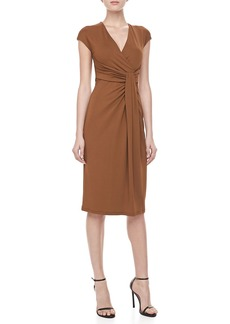 Michael Kors Jersey Faux-Wrap Dress, Saddle