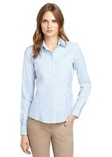 Non-Iron Tailored Fit Thin Wide Stripe Dress Shirt