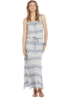 C & C California blue and ivory stretch cotton blend striped printed sleeveless maxi dress