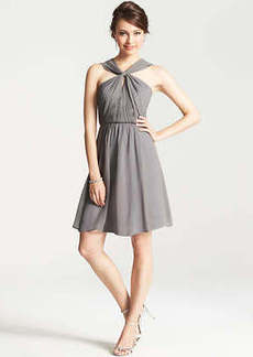 Petite Silk Georgette Keyhole Halter Dress