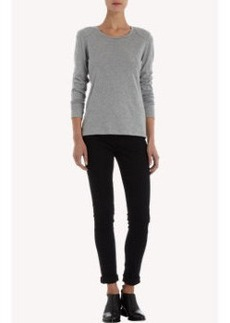 Petit Bateau Long Sleeve Tee With Quilted Shoulders