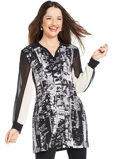 Style&co. Printed Point-Collar Tunic