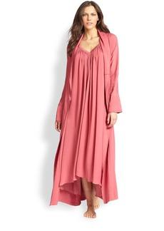 Donna Karan Silk Crepe Long Robe