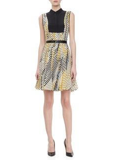 Jason Wu Print Faux Shirt Dress with Belt, Ivory/Gold