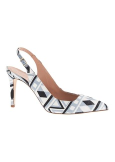 Fabric slingback pumps