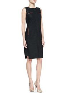 Lafayette 148 New York Linen & Faux-Leather Trim Zip-Front Dress