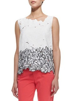 Elie Tahari Roony Sleeveless Outlined Lace Top, Black/White