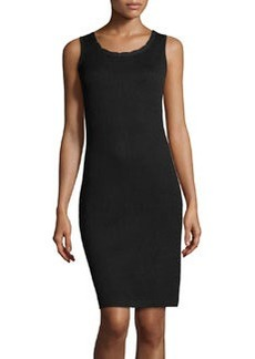 St. John Scallop-Trim Knit Tank Dress, Onyx