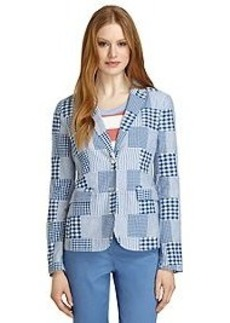 Two-Button Madras Patchwork Jacket