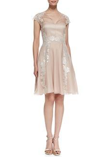 Kay Unger New York Lace Appliqué Shirt-Style Cocktail Dress, Blush