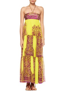 Jean Paul Gaultier Tiered Tattoo Halter Maxi Dress
