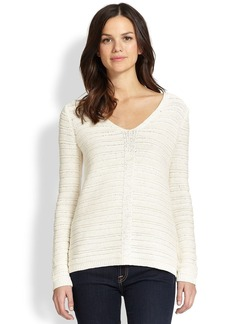 Saks Fifth Avenue Collection Tape Stitch V-Neck Sweater