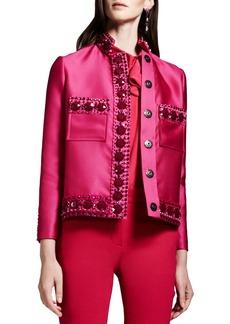 Lanvin Crystal-Embellished Duchesse Jacket, Pink