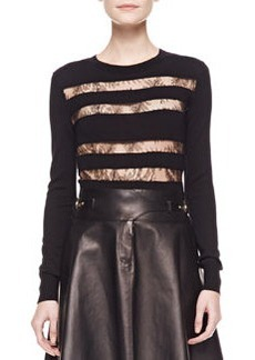 Jason Wu Lace-Striped Long-Sleeve Top, Black