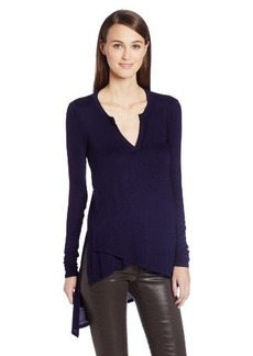 Three Dots Women's Long Sleeve Tunic with Asymmetrical Hem