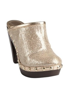 Jimmy Choo gold glitter leather and wood 'Utmost' mules