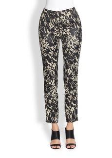 Donna Karan Printed Cropped Slim-Leg Pants