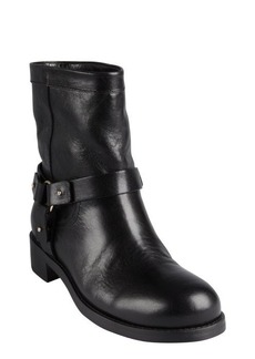 Jimmy Choo black distressed leather 'Dixie' slip-on harness boots