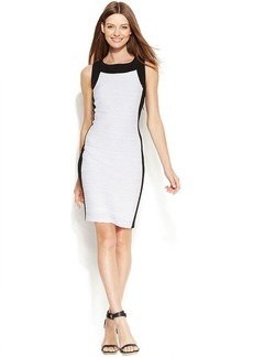 Calvin Klein Sleeveless Colorblock Textured Sheath