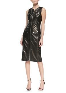 Michael Kors Plonge Leather Zip-Front Dress