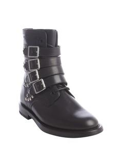 Saint Laurent black leather multi monk strap metal studded boots
