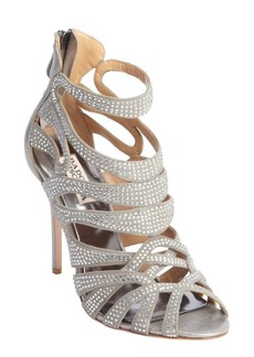 Badgley Mischka anthracite satin crystal studded strappy heel 'Taylar' sandals