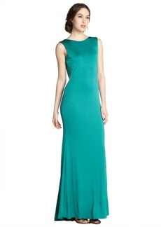 Badgley Mischka aquamarine cowl back jersey gown