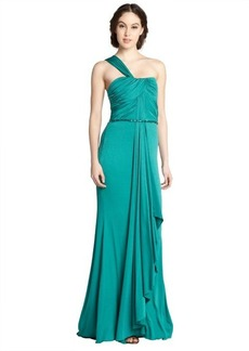 Badgley Mischka aquamarine one shoulder draped gown