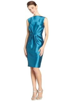 Badgley Mischka aquamarine sleeveless gathered short cocktail dress
