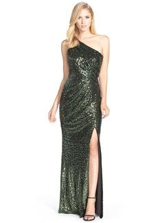 Badgley Mischka Asymmetrical Sequin Gown