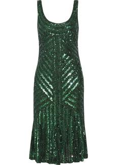Badgley Mischka Bead-embellished sequined tulle dress