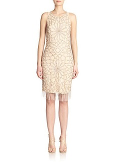Badgley Mischka Beaded Fringe Sheath