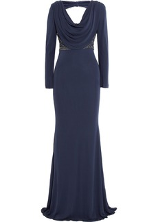 Badgley Mischka Beaded jersey-crepe gown